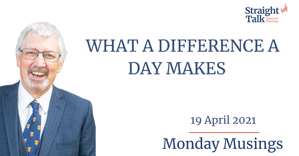David from Straight Talk Financial Planning, talks about what a difference a day makes, in this weeks Monday Musings